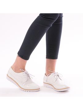 Pantofi Dama OxfordSchool Alb-2