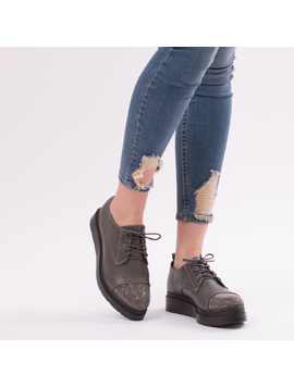 Pantofi Dama Cu Platforma SparkleMeNow Gri-2