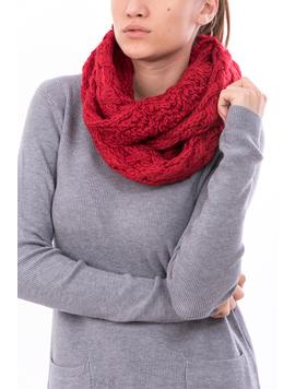 Fular Dama Tricotat BigEye Rosu-2