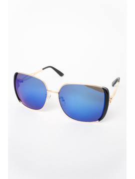 Ochelari De Soare Dama Impression Albastru Si Auriu