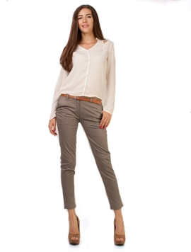 Pantaloni Dama Office Pocket Bej Inchis