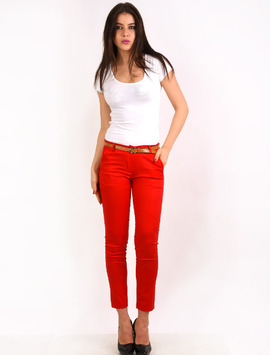 Pantaloni Dama Office Pocket Pants Rosii