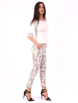 Pantaloni Dama Cu Model Floral April Alb Si Verde
