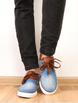 Pantofi Barbati Sport Denim Print Bleu Si Maro-2