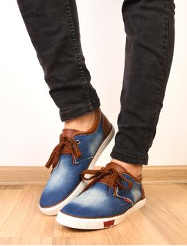 Pantofi Barbati Sport Denim Print Bleumarin Si Maro
