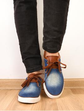Pantofi Barbati Sport Denim Print Bleumarin Si Maro-2