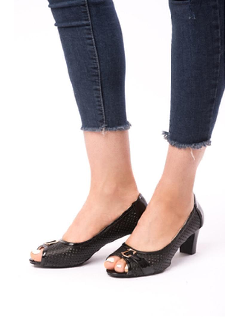 Pantofi Dama Cu Toc Gros Dandelion Negri-2