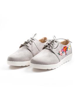 Pantofi Dama Cu Flori Multiple Si Siret TheAutumn Gri-2