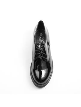 Pantofi Dama Cu siret Luciosi Erika Negru-2