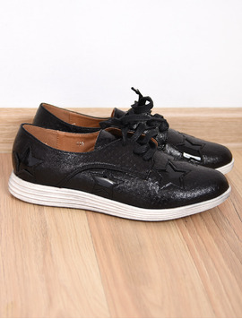 Pantofi Dama Casual Textured Negri