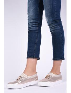 Pantofi Dama Casual Din Material Stralucitor Loyal Aurii