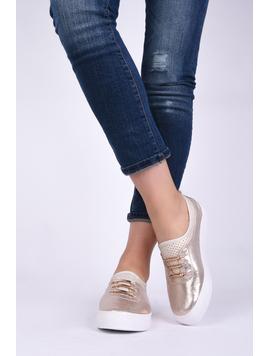 Pantofi Dama Casual Din Material Stralucitor Loyal Aurii-2