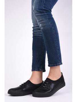 Pantofi Dama Casual Din Material Stralucitor Loyal Negri