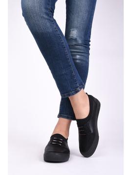 Pantofi Dama Casual Din Material Stralucitor Loyal Negri-2