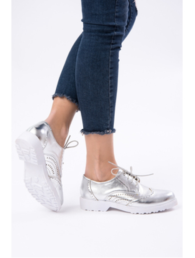 Pantofi Dama Casual Lacuiti Everyday Argintii-2