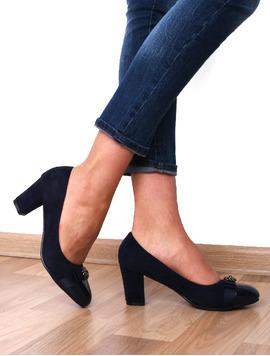 Pantofi Dama Cu Toc Si Varf Lacuit Hope Bleumarin