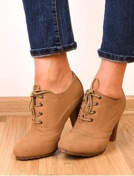 Pantofi Dama Cu Siret Si Toc Wish Bej