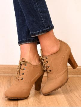 Pantofi Dama Cu Siret Si Toc Wish Bej-2