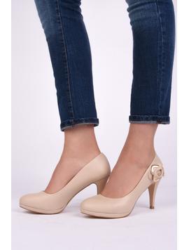 Pantofi Dama Casual Cu Toc Beauty Bej