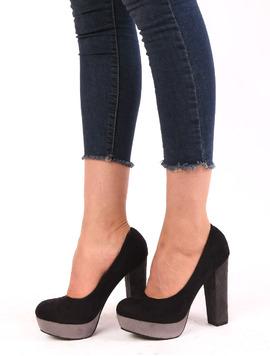 Pantofi Dama Cu Platforma Si Toc Gros Bamboo Negri-2