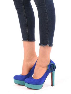 Pantofi Dama Cu Platforma Si Floare Sunny Abastru Si Verde-2