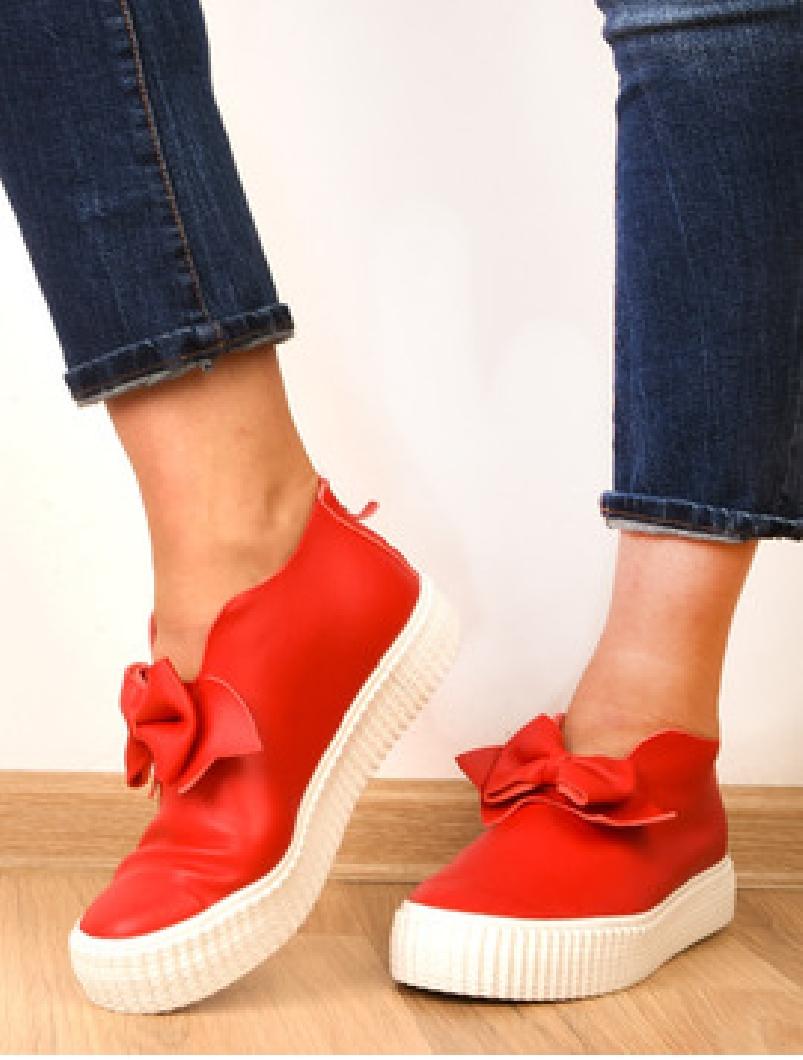 Pantofi Dama Sport Cu Fundita Decorativa Bride Rosii-2