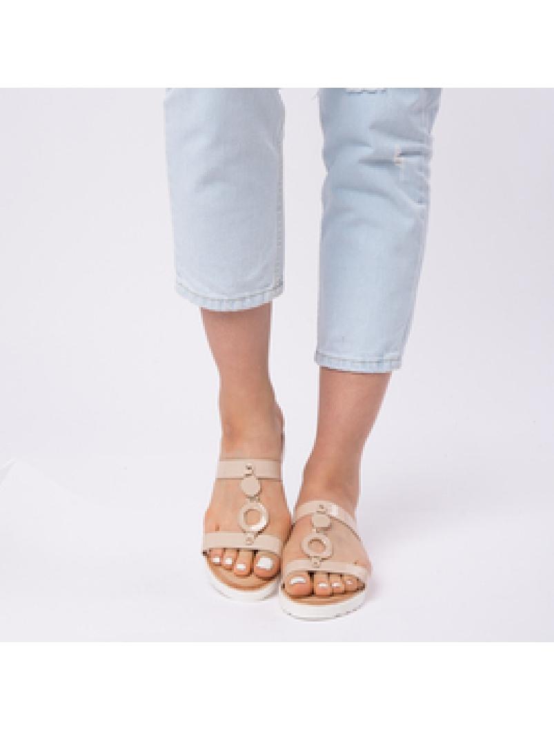 Papuci Dama Lacuiti Camelia Bej-2
