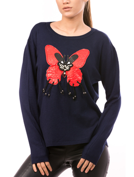 Pulover Dama LetherButterfly Bleumarin-2
