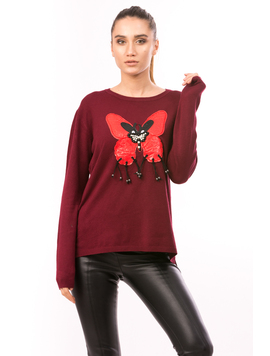 Pulover Dama LetherButterfly Bordo