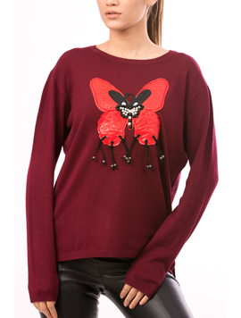 Pulover Dama LetherButterfly Bordo-2
