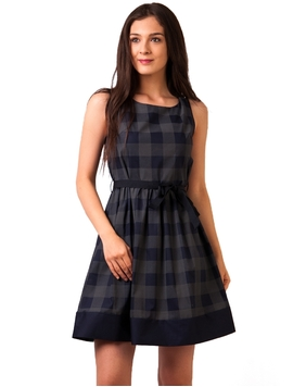 Rochie Panza Opposite Day Squares Bleumarin