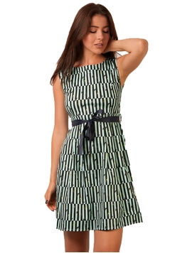Rochie Dama Moustache And Stripes Mint Green&Black