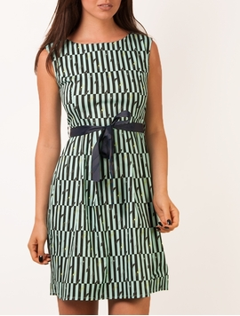 Rochie Dama Moustache And Stripes Mint Green&Black-2