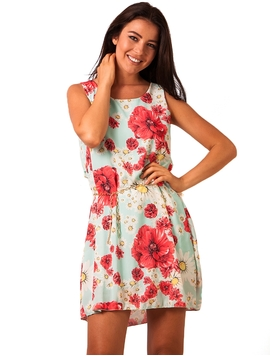 Rochie Dama Take Off Flowers Turquoise&Red