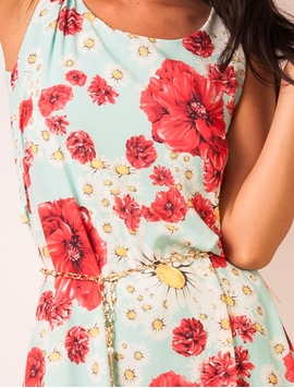Rochie Dama Take Off Flowers Turquoise&Red-2
