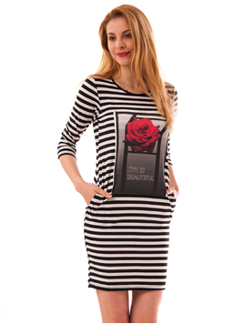 Rochie In Dungi Life Is Beautiful Alb Si Negru