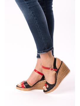 Sandale Dama Cu Platforma Bella Negru Si Rosu