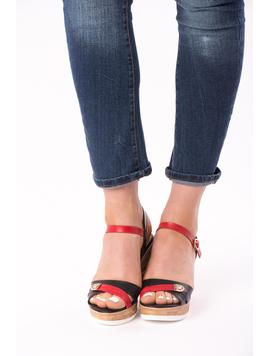 Sandale Dama Cu Platforma Bella Negru Si Rosu-2