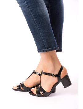 Sandale Dama Cu Toc Mic Julia Negre