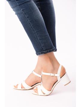 Sandale Dama Cu Toc Mic Julia Albe