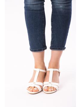 Sandale Dama Cu Toc Mic Julia Albe-2