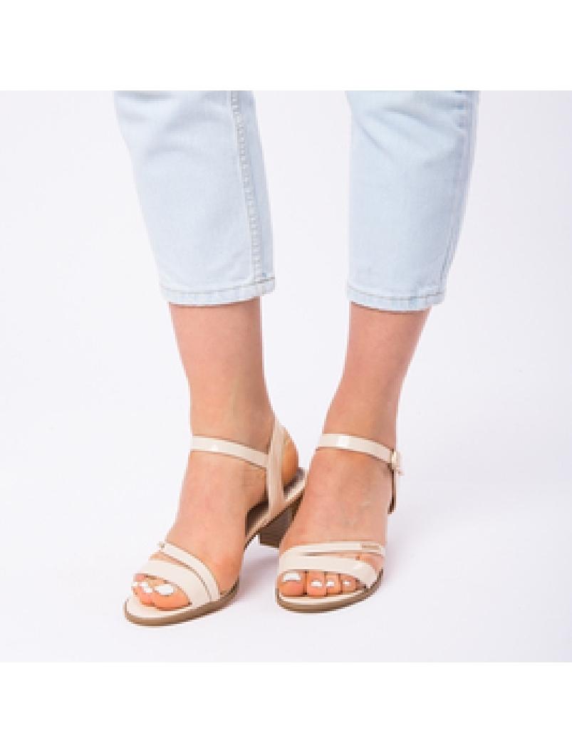 Sandale Dama Cu Toc Mic Sarah Bej-2