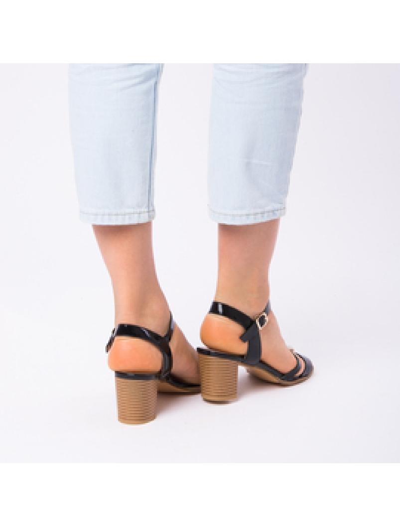Sandale Dama Cu Toc Mic Sarah Negre | angrozenda.ro