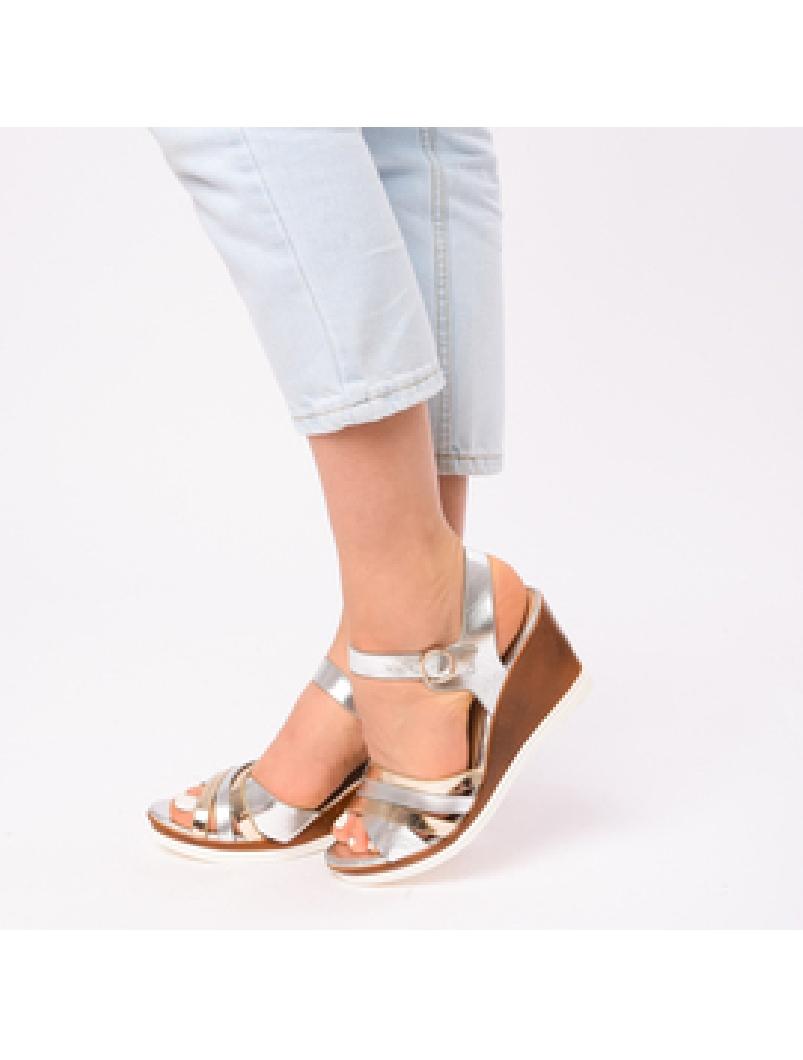 Sandale Dama Cu Platforma Amelia Argintii