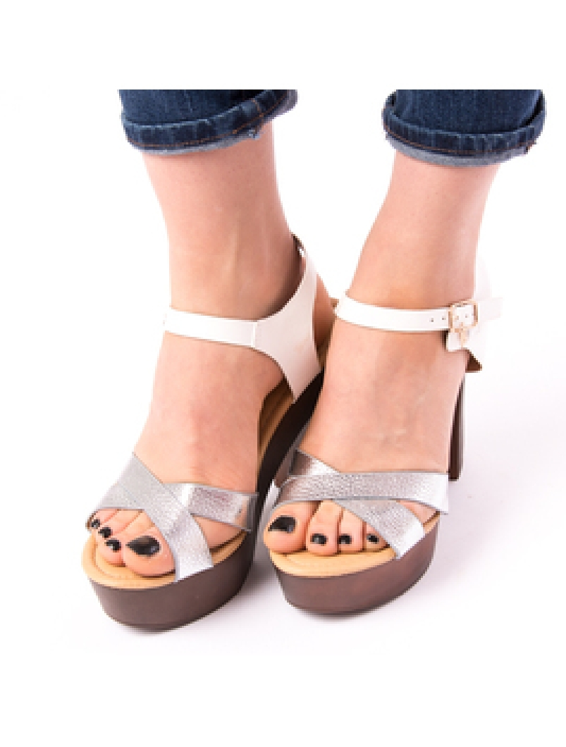 Sandale Dama Cu Toc Mare Jules Argintii-2