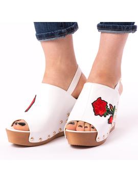 Sandale Dama Cu Broderie Fancy Albe-2