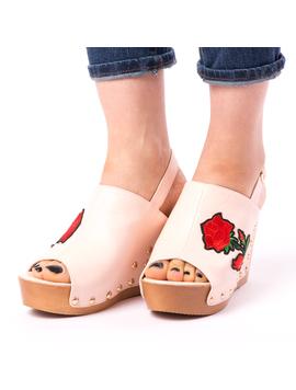 Sandale Dama Cu Broderie Fancy Roz-2