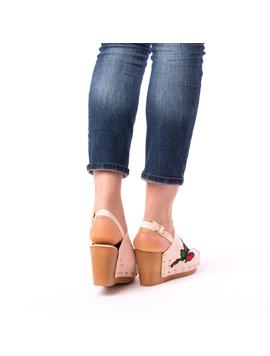 Sandale Dama Cu Broderie Fancy Roz