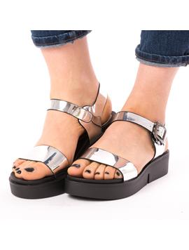 Sandale Dama Lucioase Sand Argintii-2