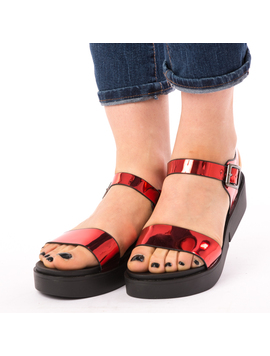 Sandale Dama Lucioase Sand Rosii-2